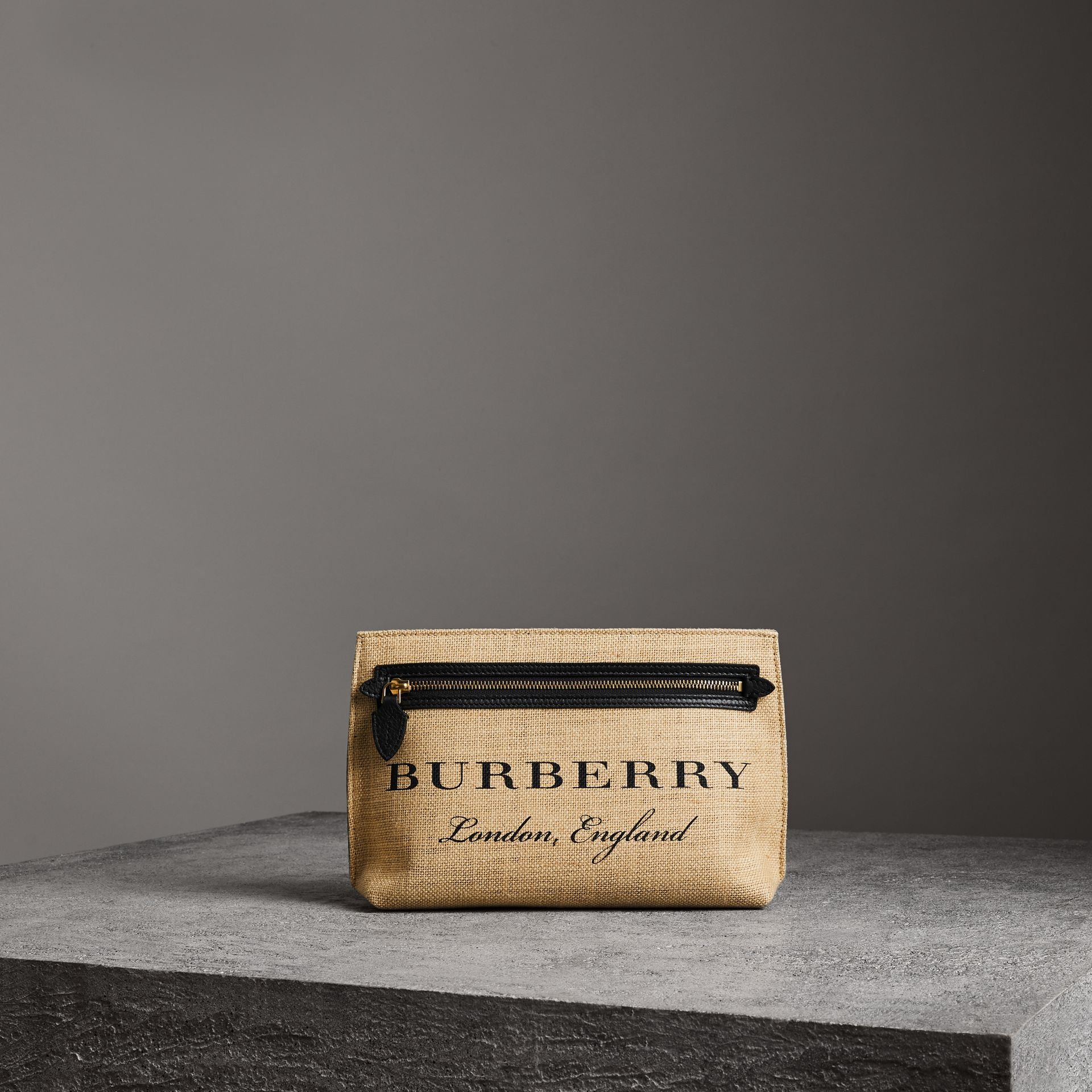 Logo Print Jute Wristlet Clutch in Black - Women | Burberry - gallery image 0