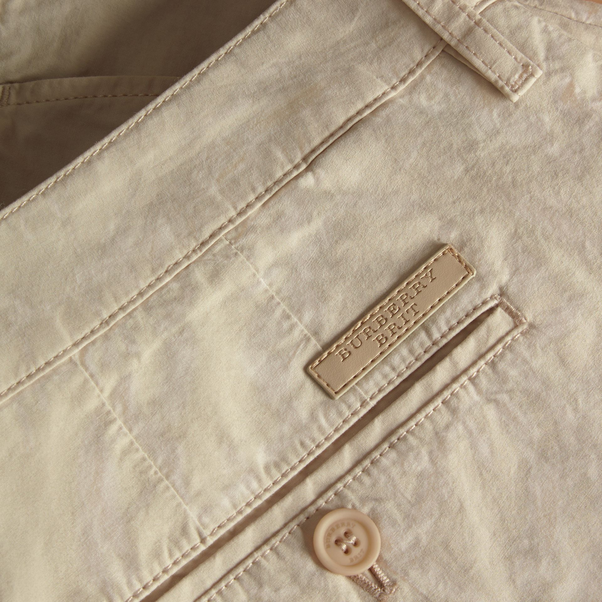 Cotton Poplin Chino Shorts in Stone - Men | Burberry - gallery image 2