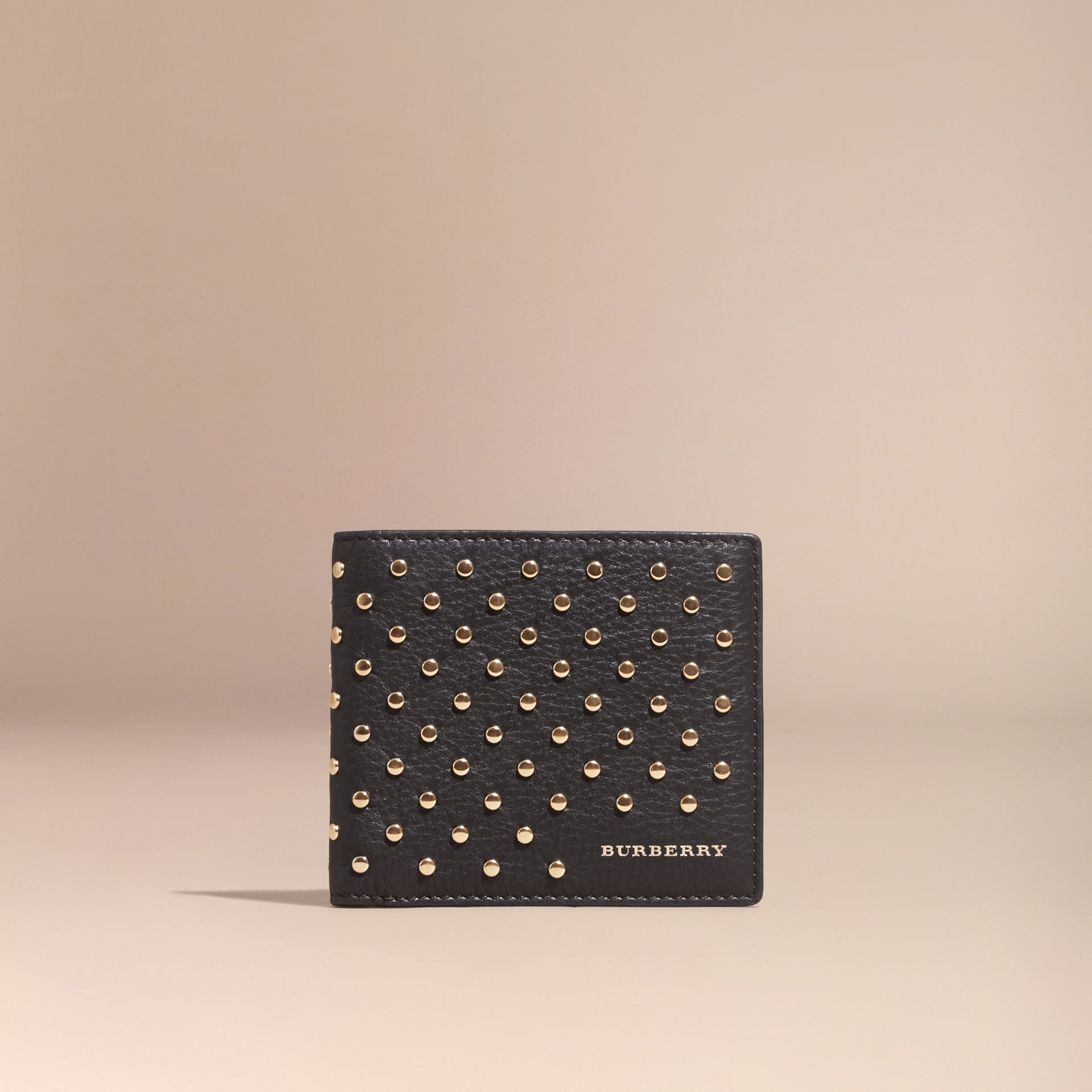 Black Studded Leather Folding Wallet - gallery image 6