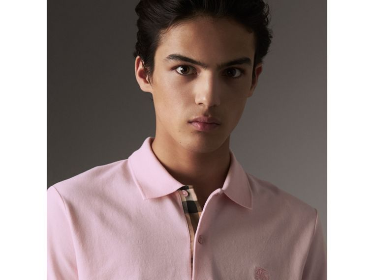 Check Placket Cotton Piqué Polo Shirt in City Pink - Men | Burberry - cell image 1