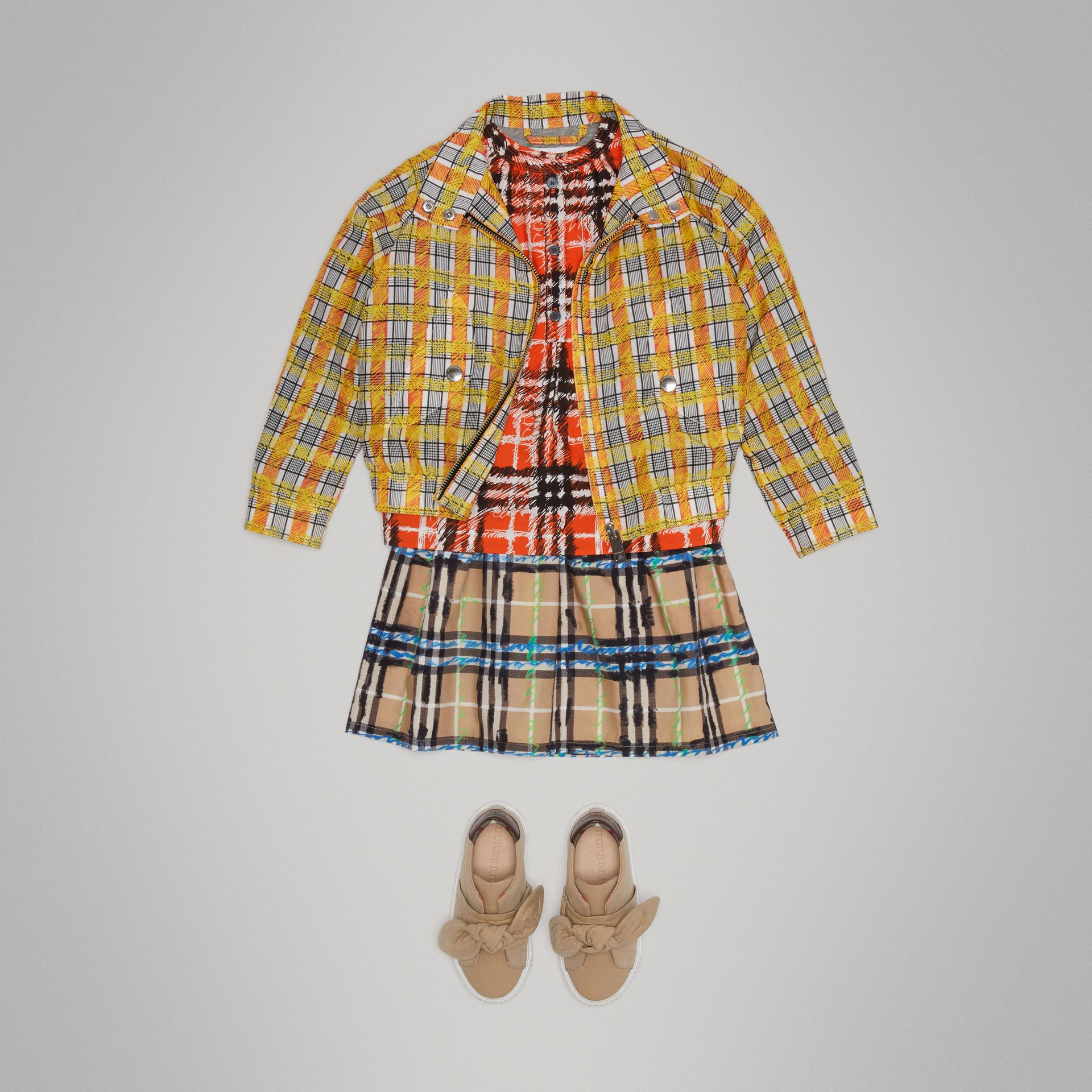 Scribble Check Cotton Silk Harrington Jacket in Bright Yellow | Burberry - gallery image 2