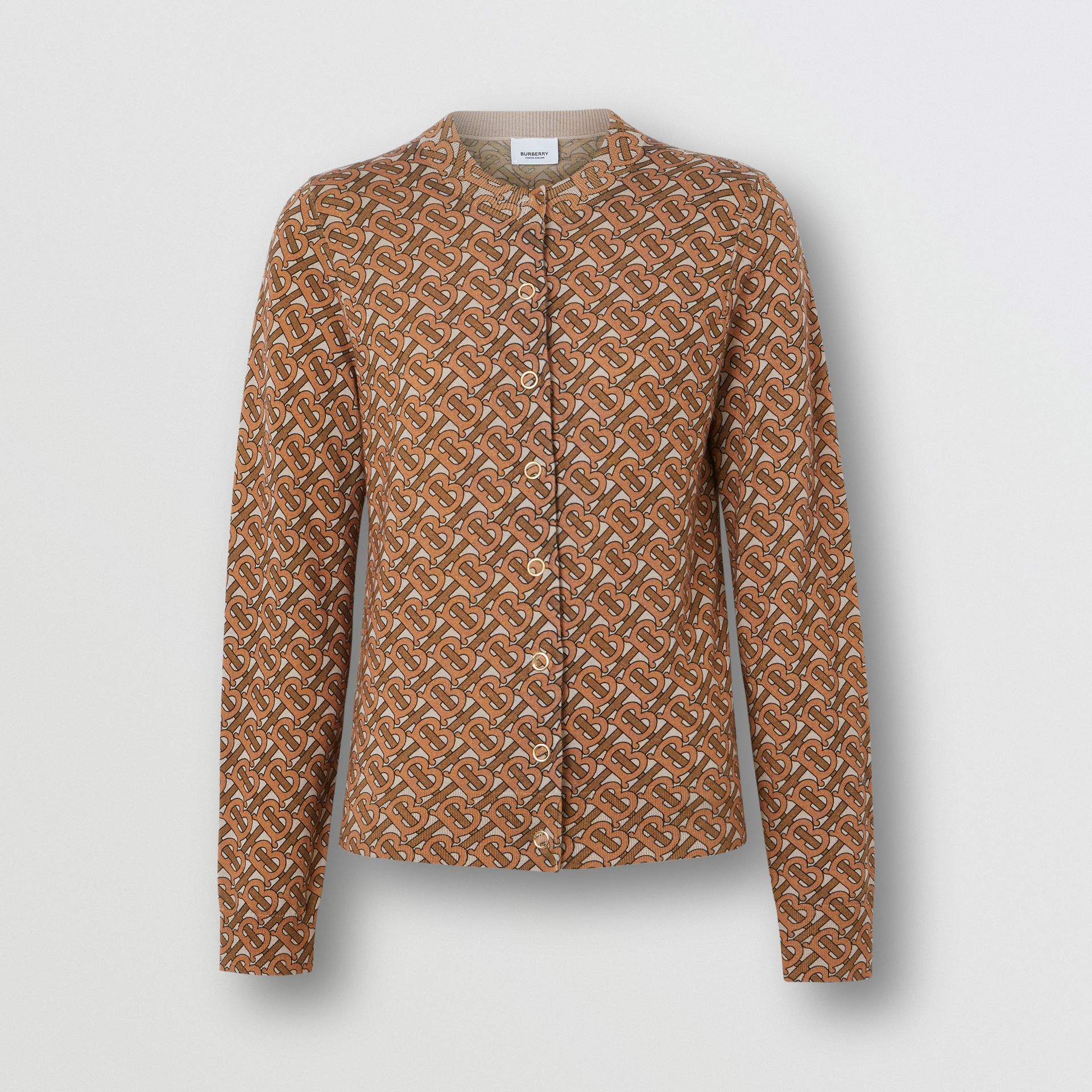 Monogram Print Merino Wool Cardigan in Beige - Women | Burberry - gallery image 3