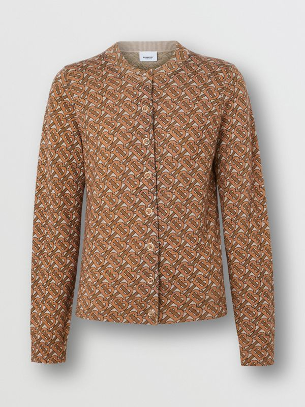 Monogram Print Merino Wool Cardigan in Beige - Women | Burberry United States - cell image 3