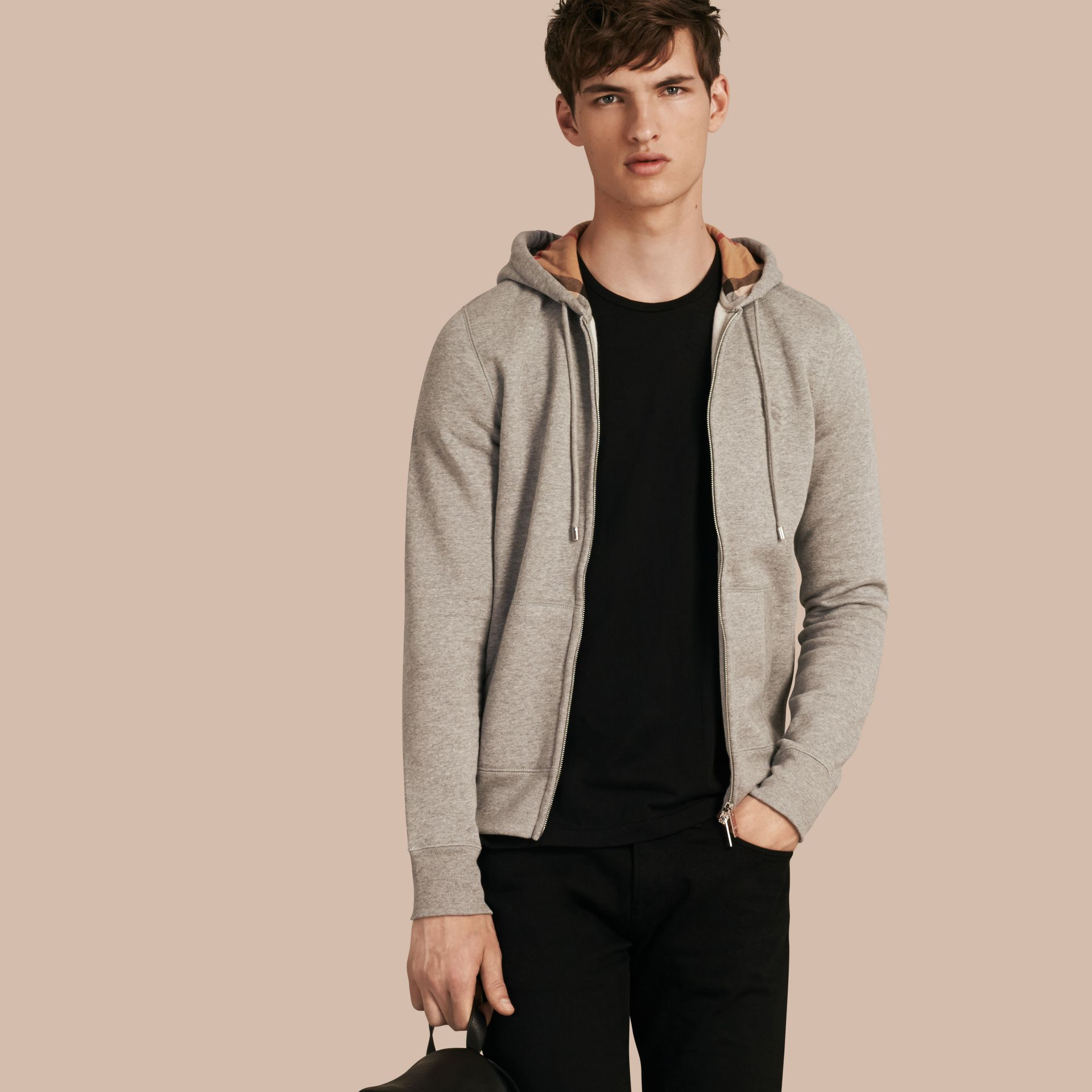 Hooded Cotton Jersey Top in Pale Grey Melange - Men | Burberry - gallery image 1