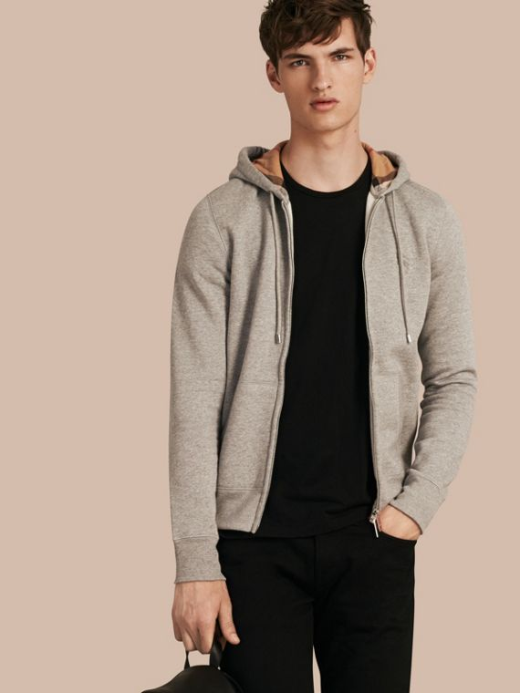 Hooded Cotton Jersey Top in Pale Grey Melange - Men | Burberry