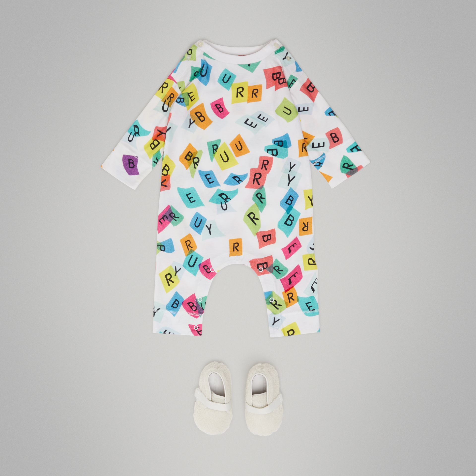 Confetti Letter Print Cotton Jumpsuit in White - Children | Burberry - gallery image 2