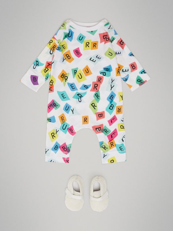 Confetti Letter Print Cotton Jumpsuit in White - Children | Burberry - cell image 2