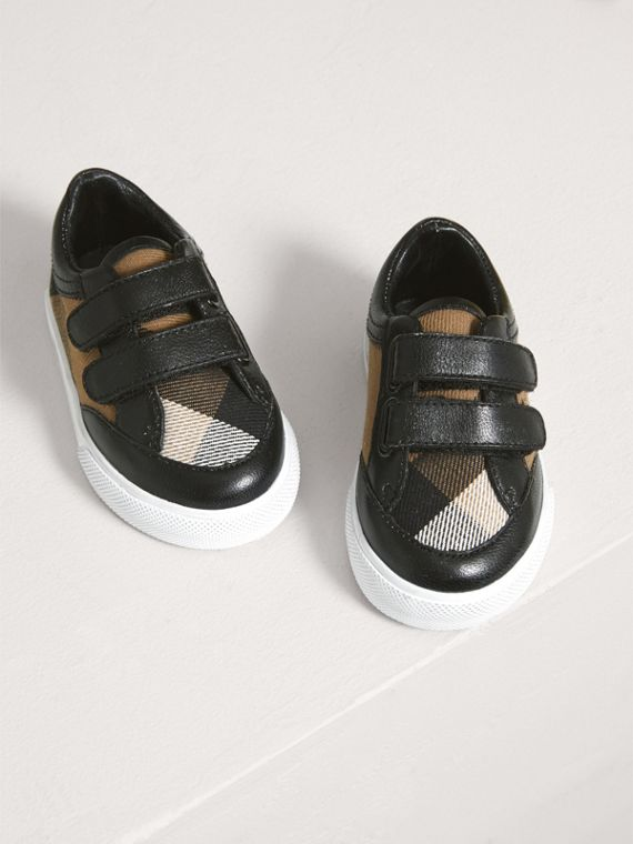 House Check and Leather Trainers in Black | Burberry United Kingdom - cell image 3