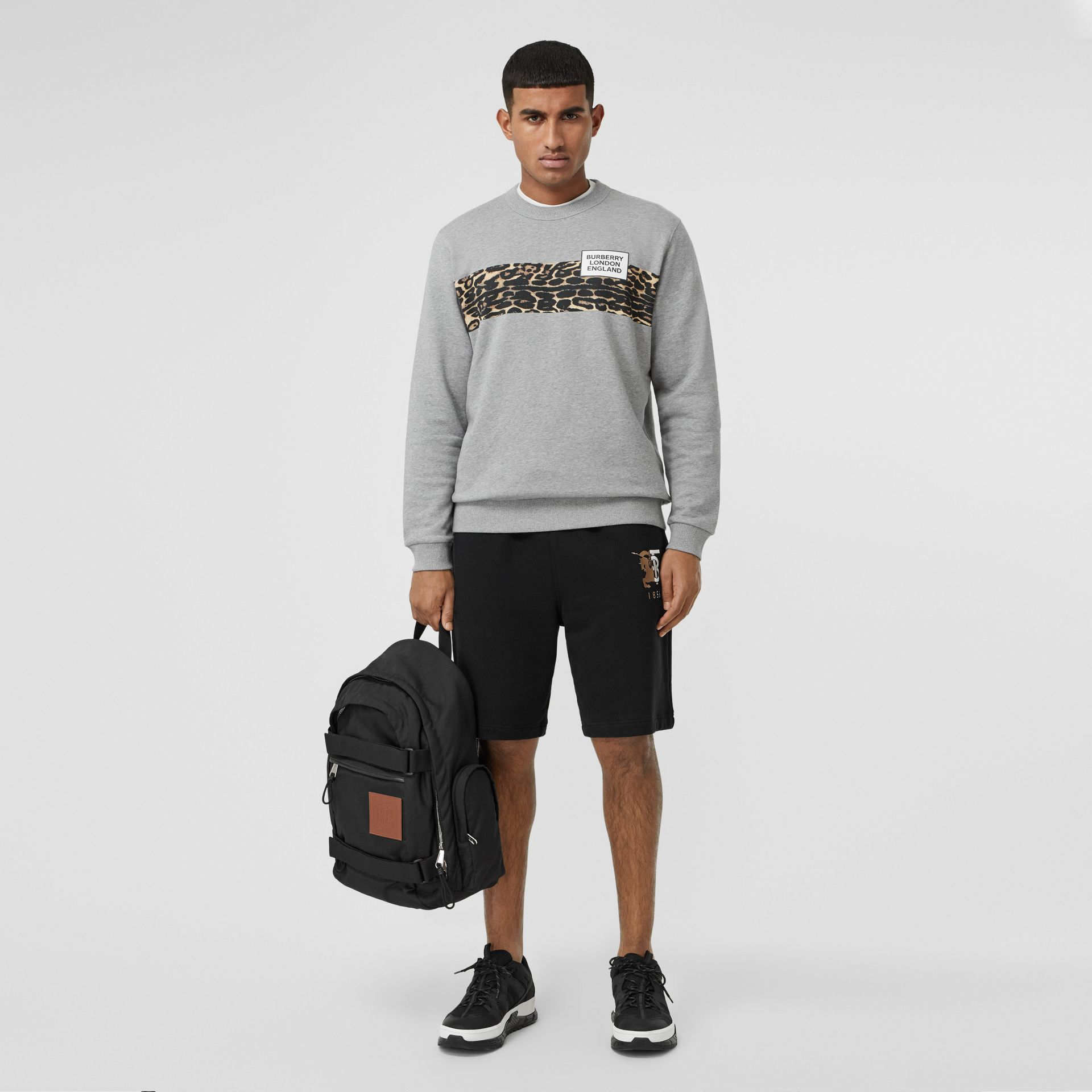 Montage Print Cotton Sweatshirt in Pale Grey Melange - Men | Burberry - gallery image 4