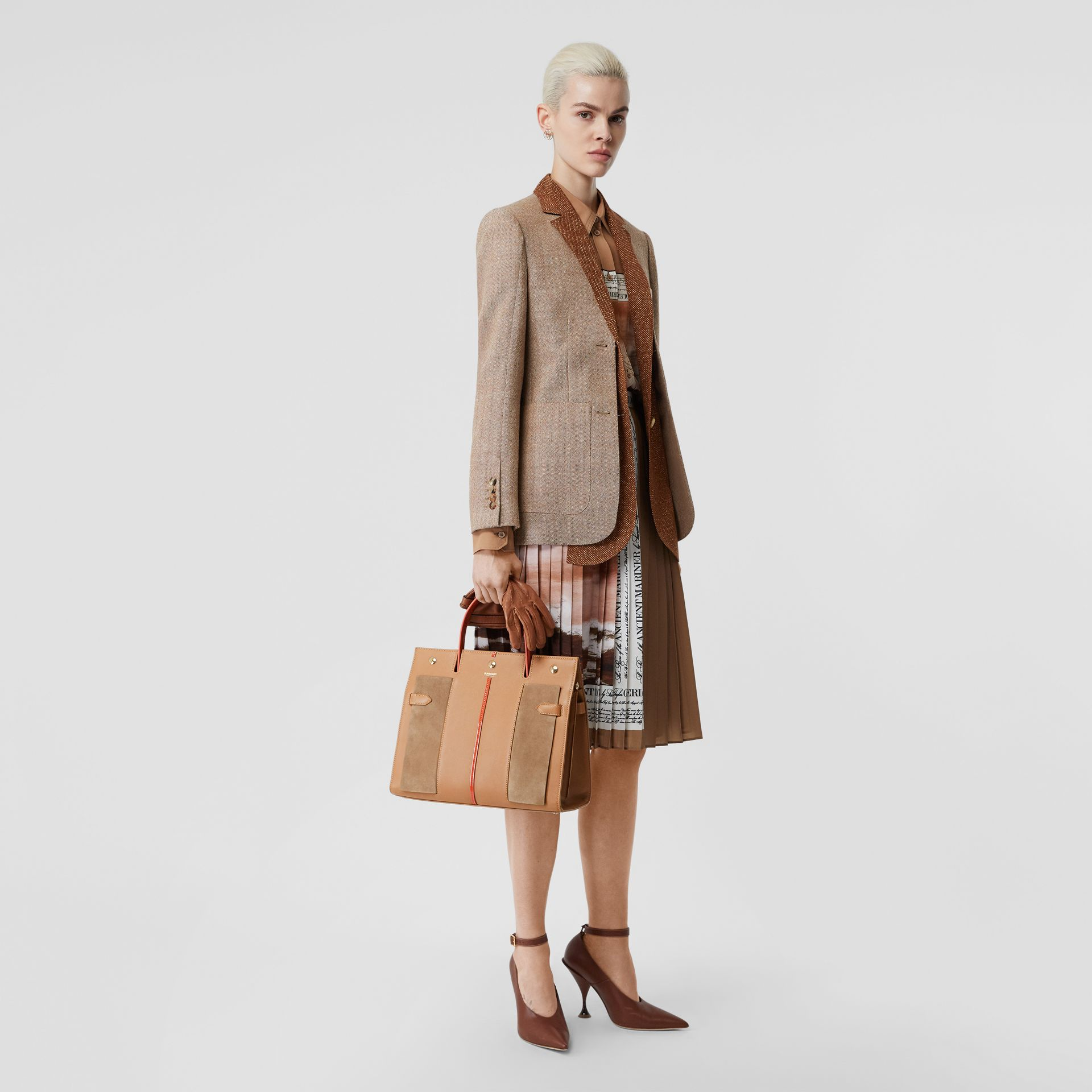 Medium Leather and Suede Title Bag in Warm Camel - Women | Burberry Australia - gallery image 5