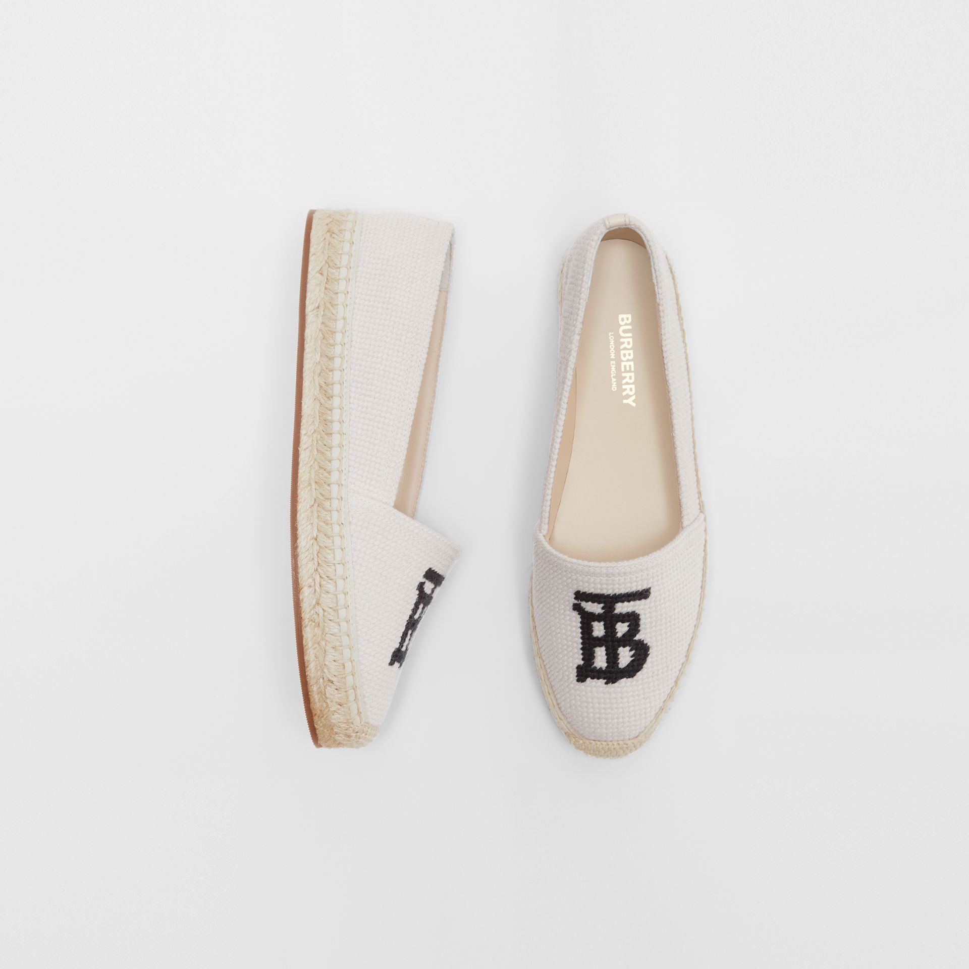 Monogram Motif Cotton and Leather Espadrilles in Ecru/black - Women | Burberry United Kingdom - gallery image 0