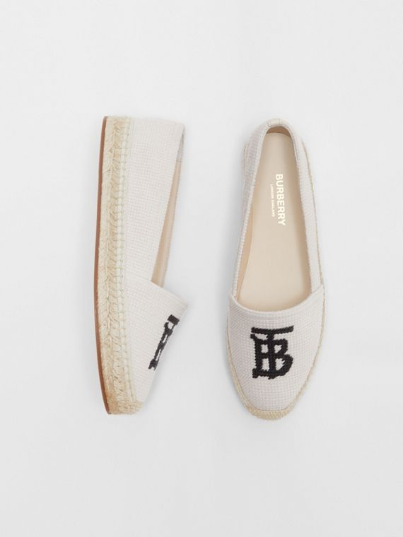 Monogram Motif Cotton and Leather Espadrilles in Ecru/black