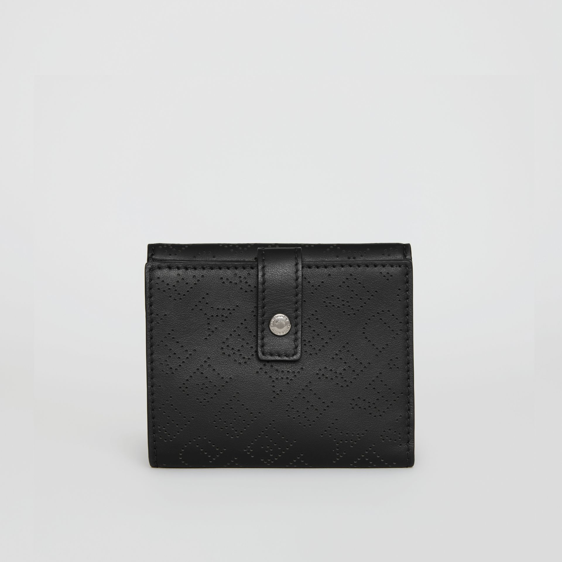 Small Perforated Logo Leather Wallet in Black - Women | Burberry - gallery image 2