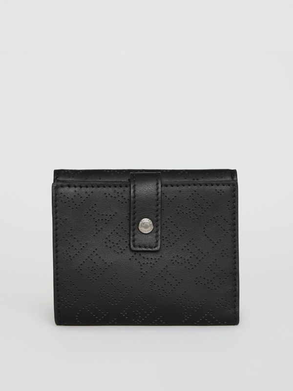 Small Perforated Logo Leather Wallet in Black - Women | Burberry - cell image 2