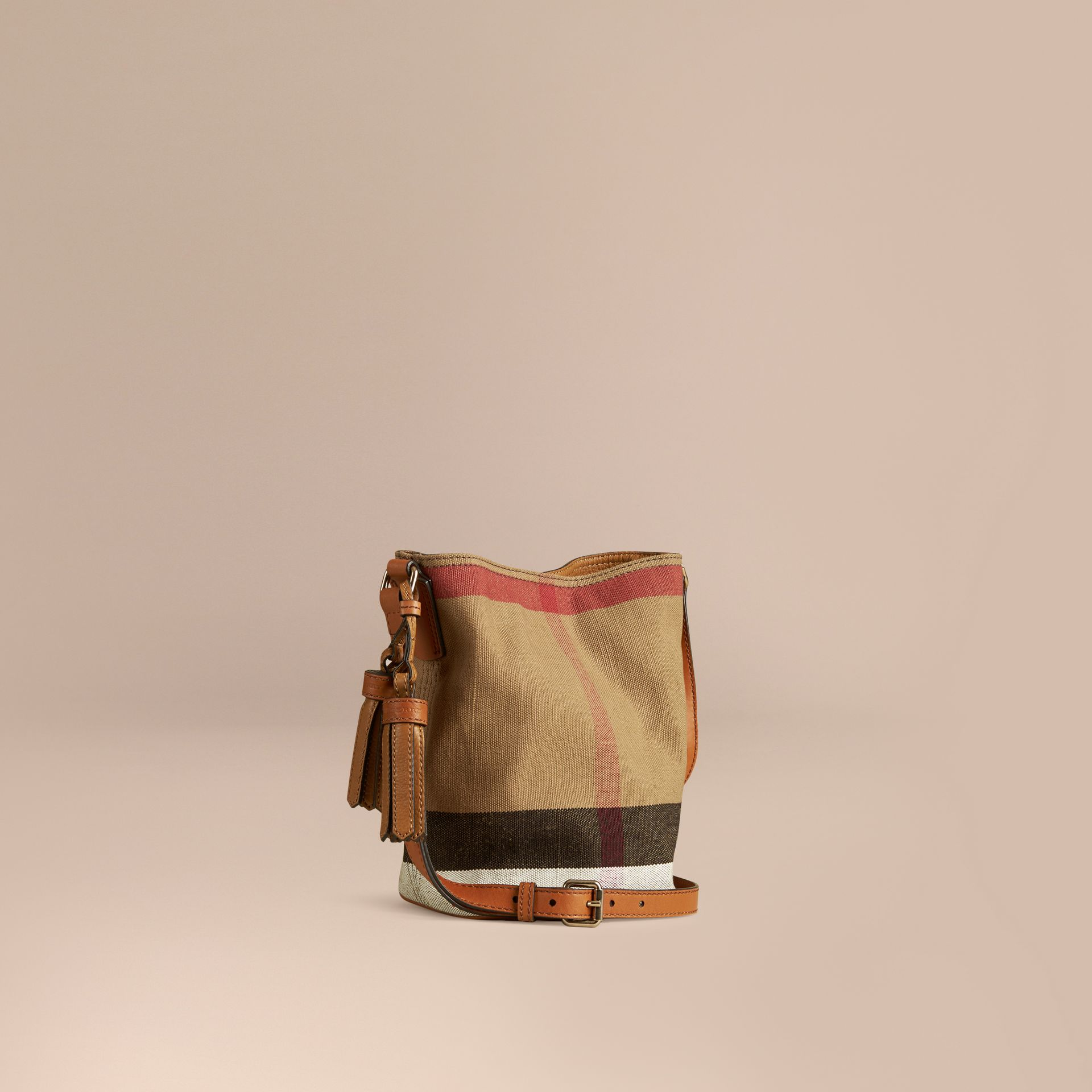 The Small Ashby in Canvas Check and Leather in Saddle Brown - gallery image 1