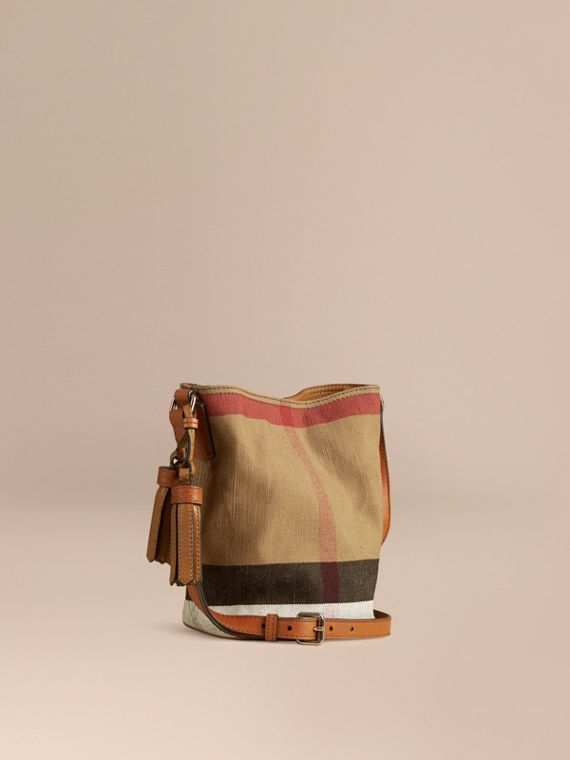 The Ashby piccola con pelle e motivo Canvas check (Marrone Cuoio)