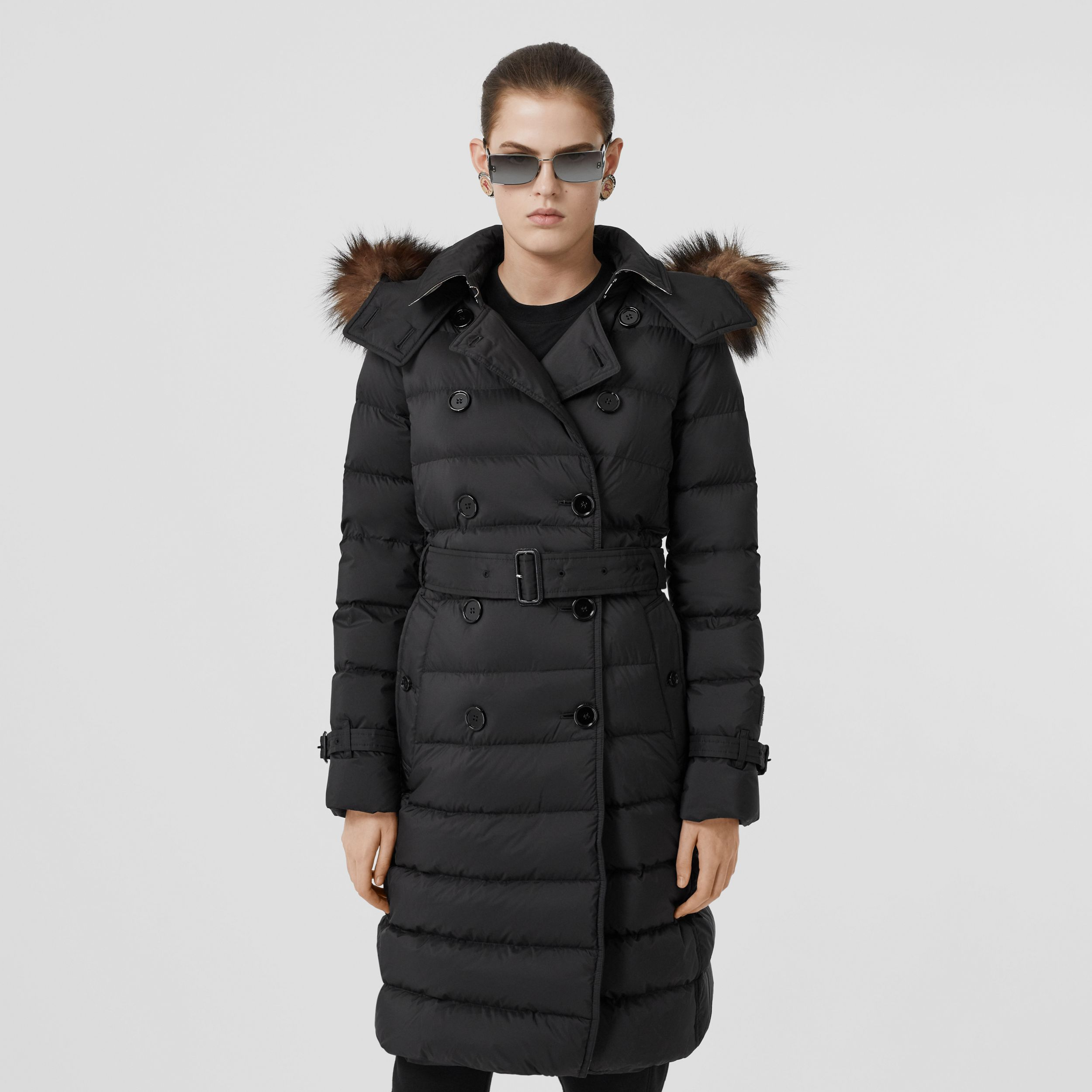Detachable Hood Down-filled Coat in Black - Women | Burberry - 1