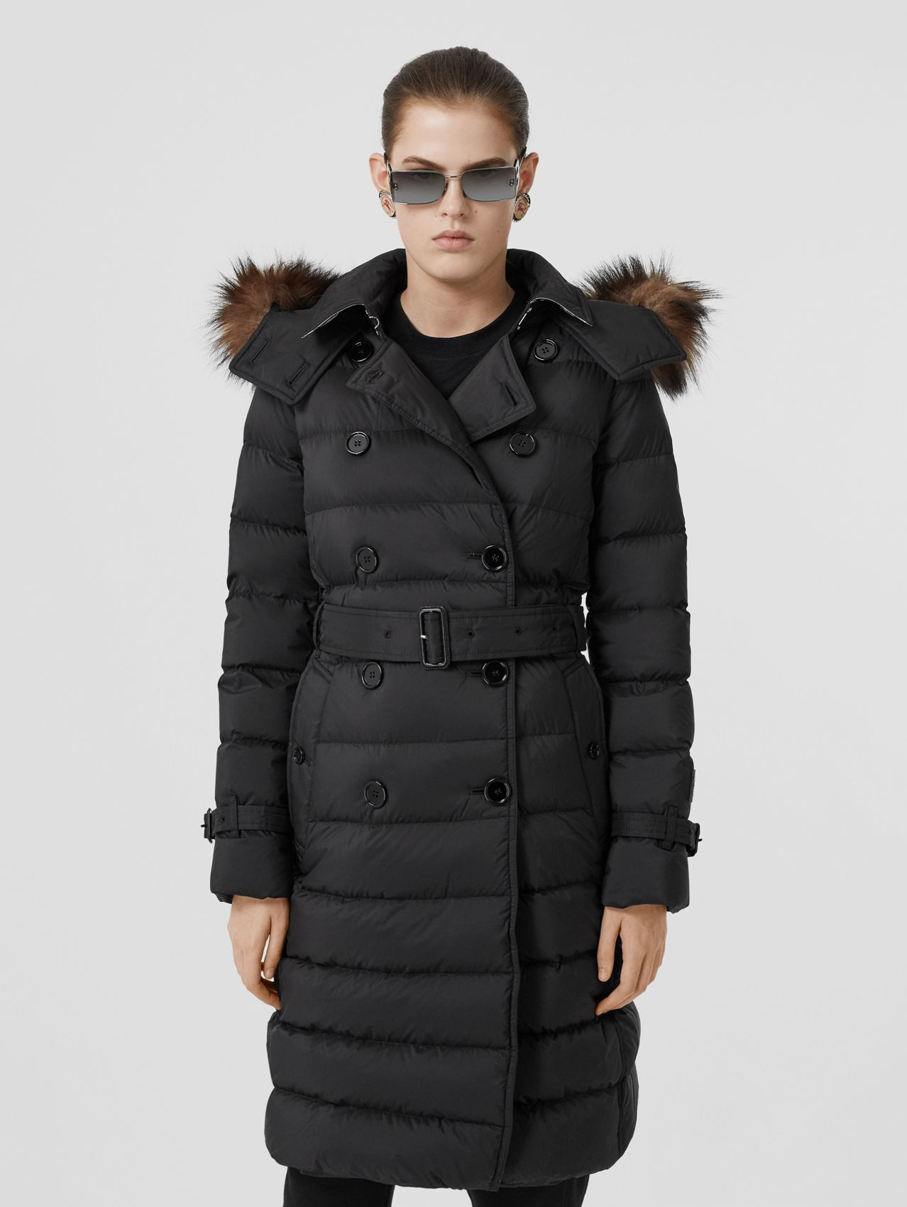 Detachable Hood Down-filled Coat in Black