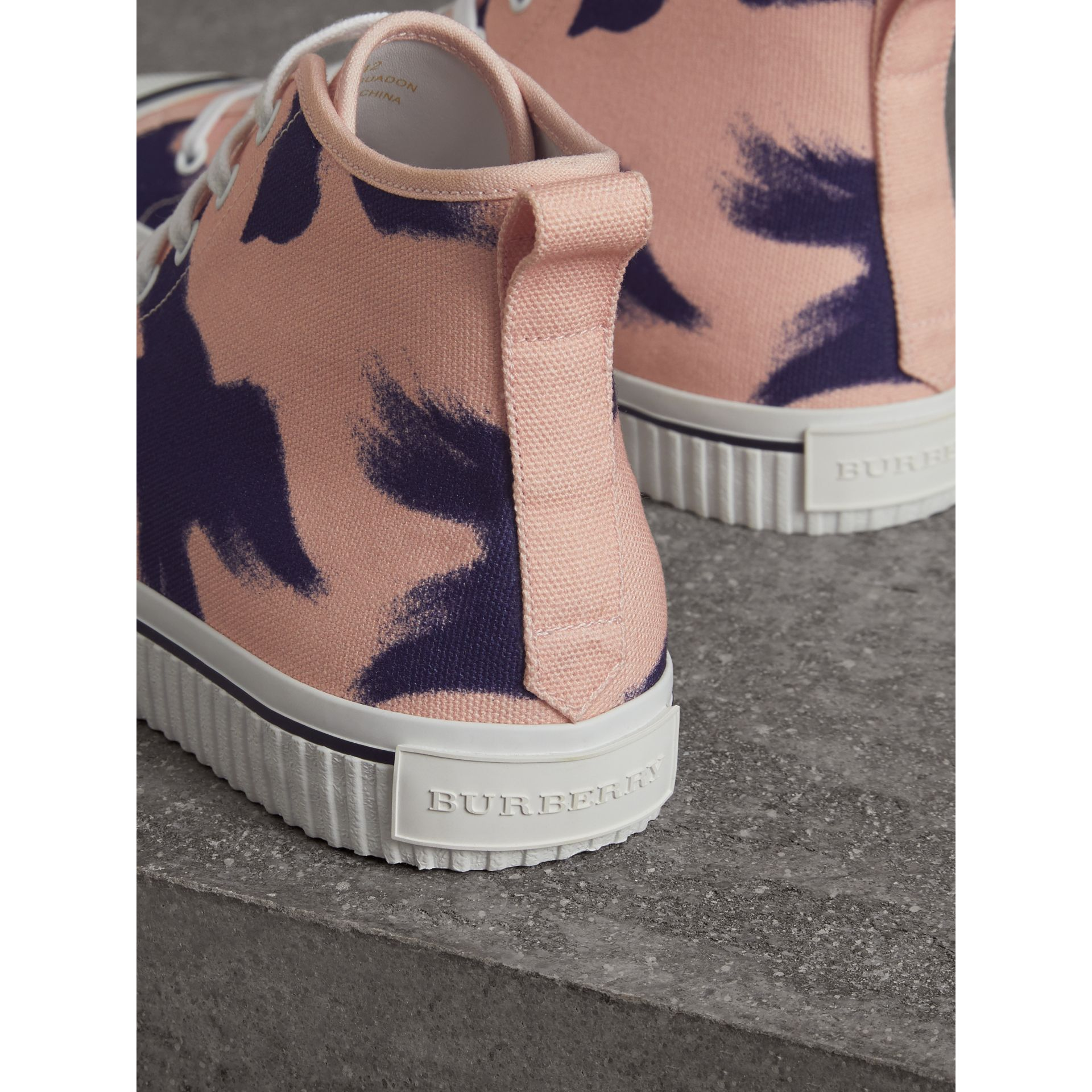 Bird Print Canvas High-top Sneakers in Apricot Pink - Men | Burberry - gallery image 3