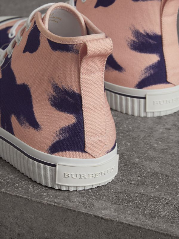 Bird Print Canvas High-top Sneakers in Apricot Pink - Men | Burberry - cell image 3