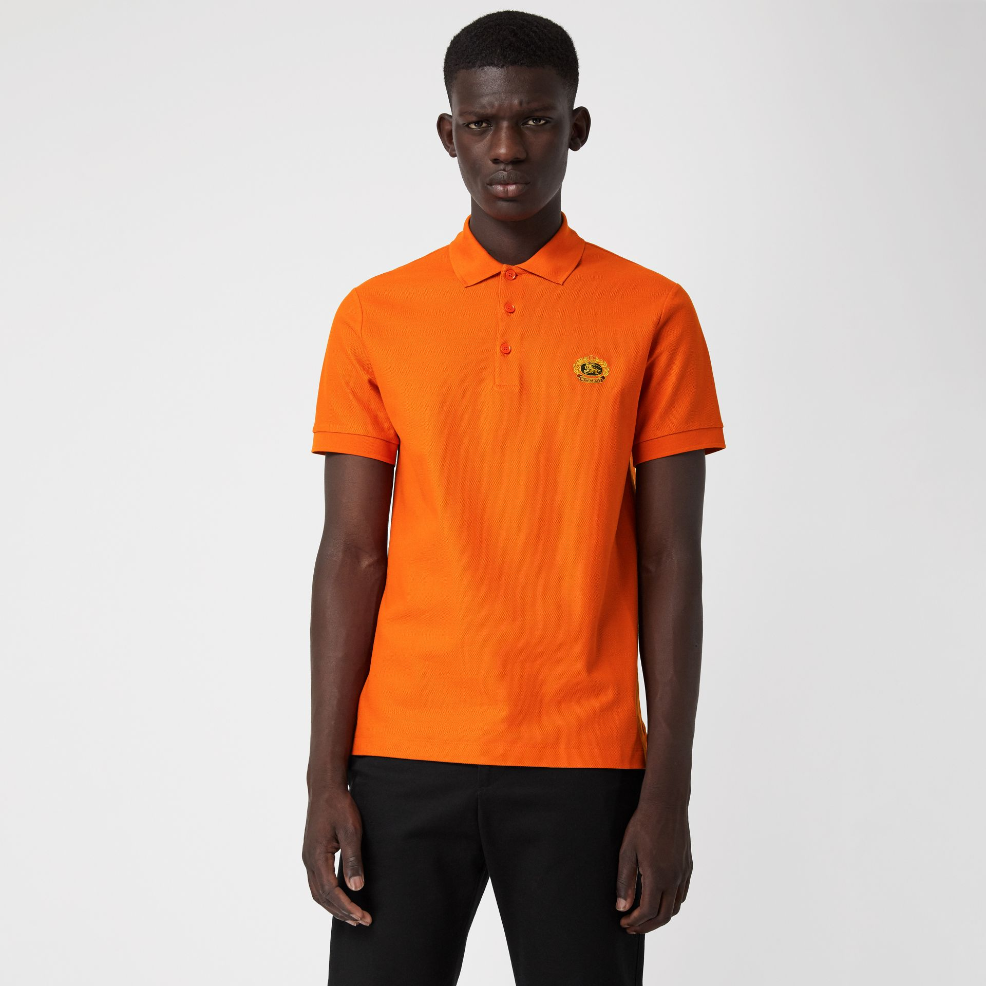 Archive Logo Cotton Piqué Polo Shirt in Clementine - Men | Burberry - gallery image 0