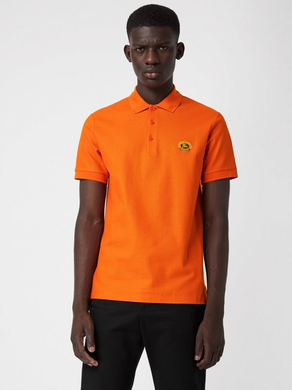 Archive Logo Cotton Piqué Polo Shirt in Clementine