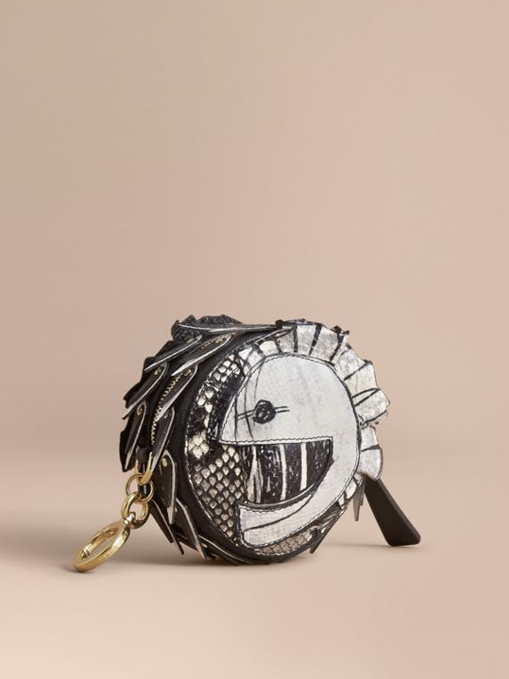 Pallas Helmet Motif Leather and Snakeskin Coin Case - Men | Burberry