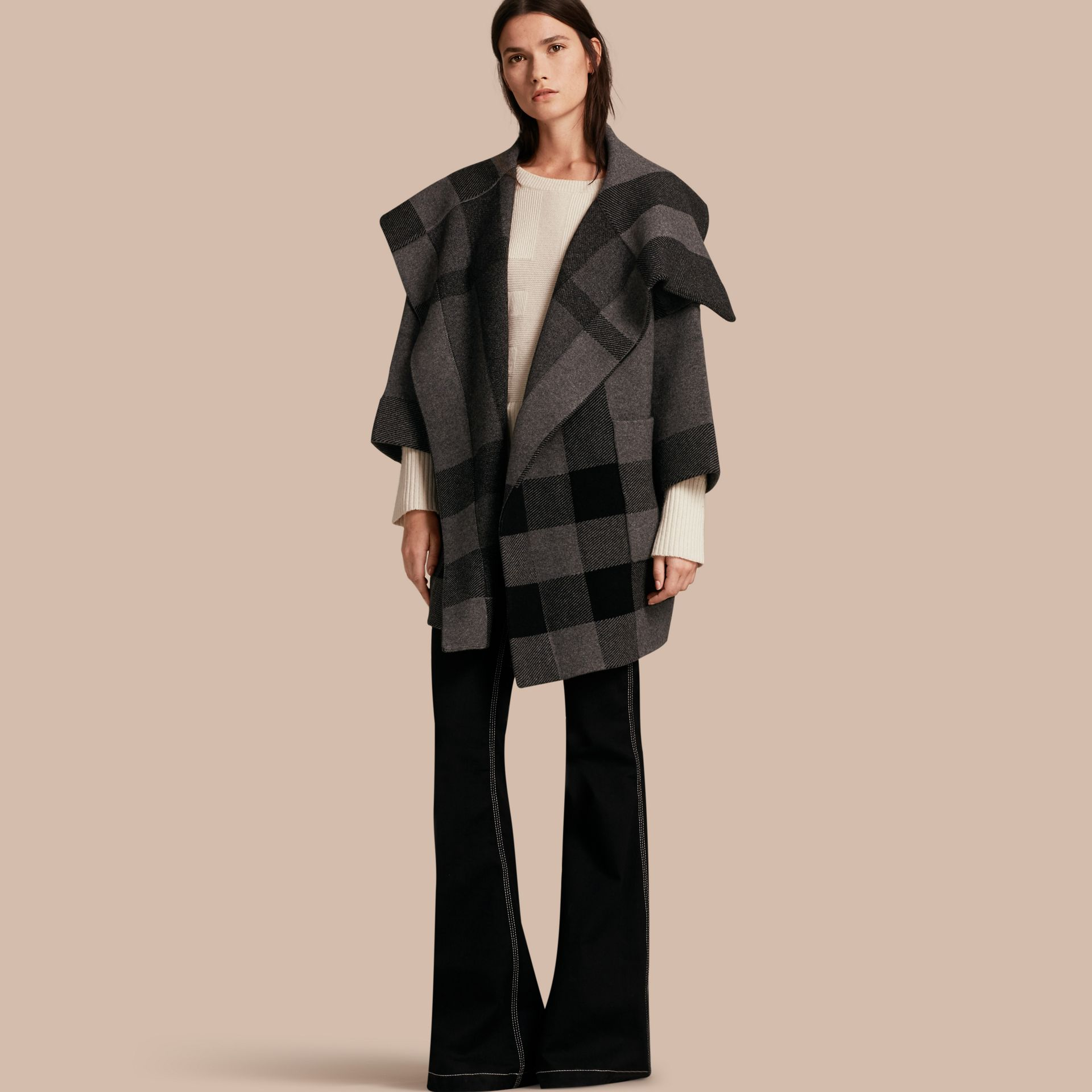 Mid grey melange Oversize Stretch Wool Cashmere Wide Collar Coat Mid Grey Melange - gallery image 1