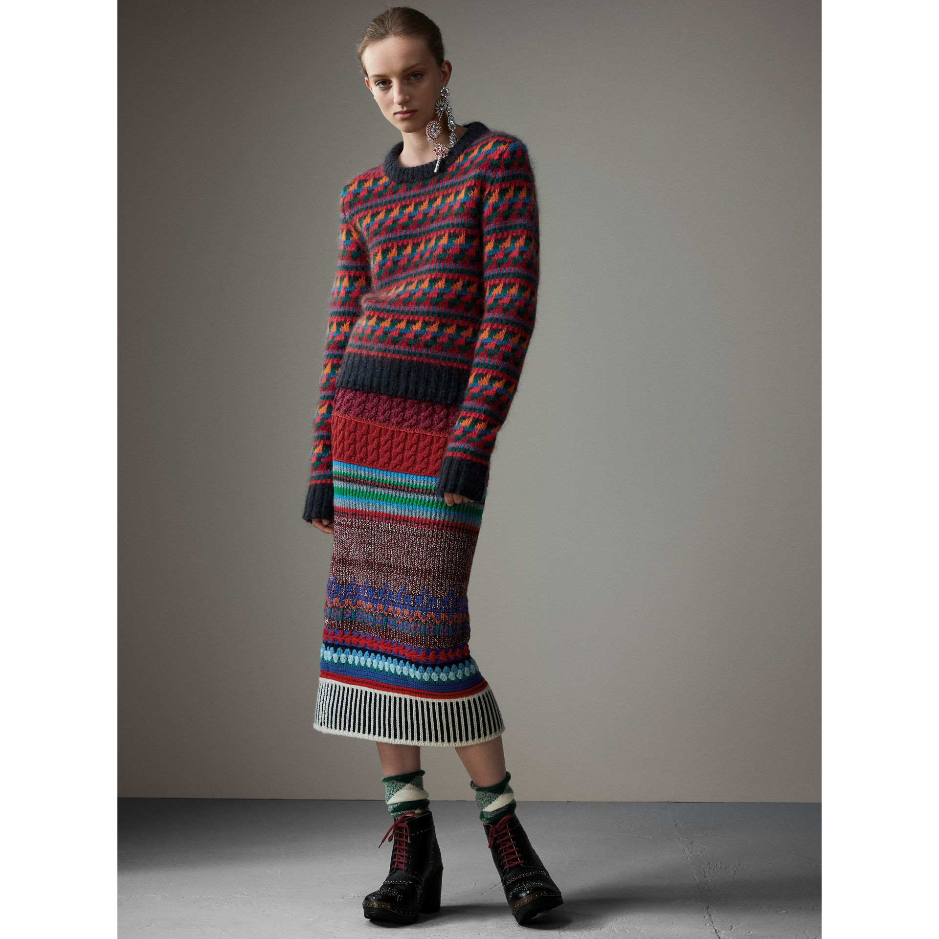 Fair Isle Knitted Wool Mohair Blend Sweater in Multicolour - Women | Burberry Australia - gallery image 1