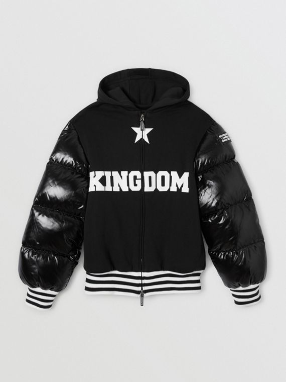 Puffer Sleeve Kingdom Print Cotton Hooded Top in Black