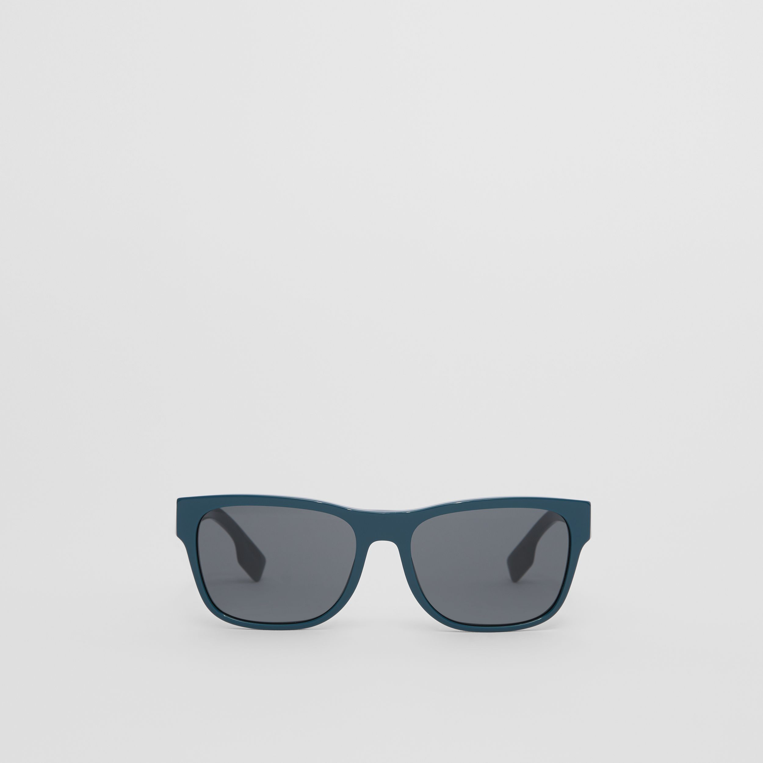 Logo Appliqué Square Frame Sunglasses in Deep Blue - Men | Burberry - 1