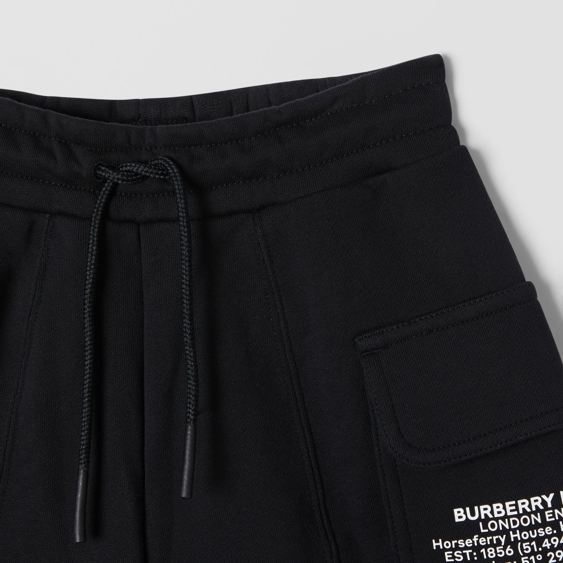 Location Print Cotton Drawcord Shorts in Black | Burberry - gallery image 5