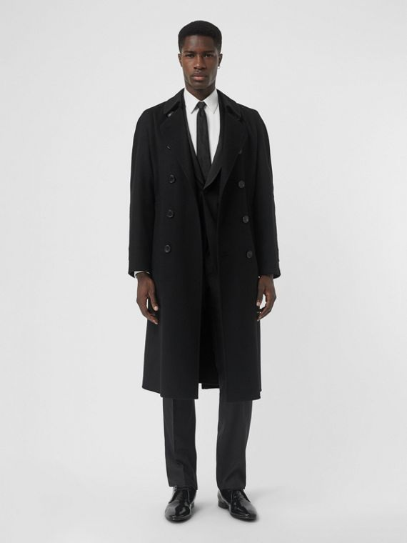 Trench coat en cachemir de doble cara (Negro)