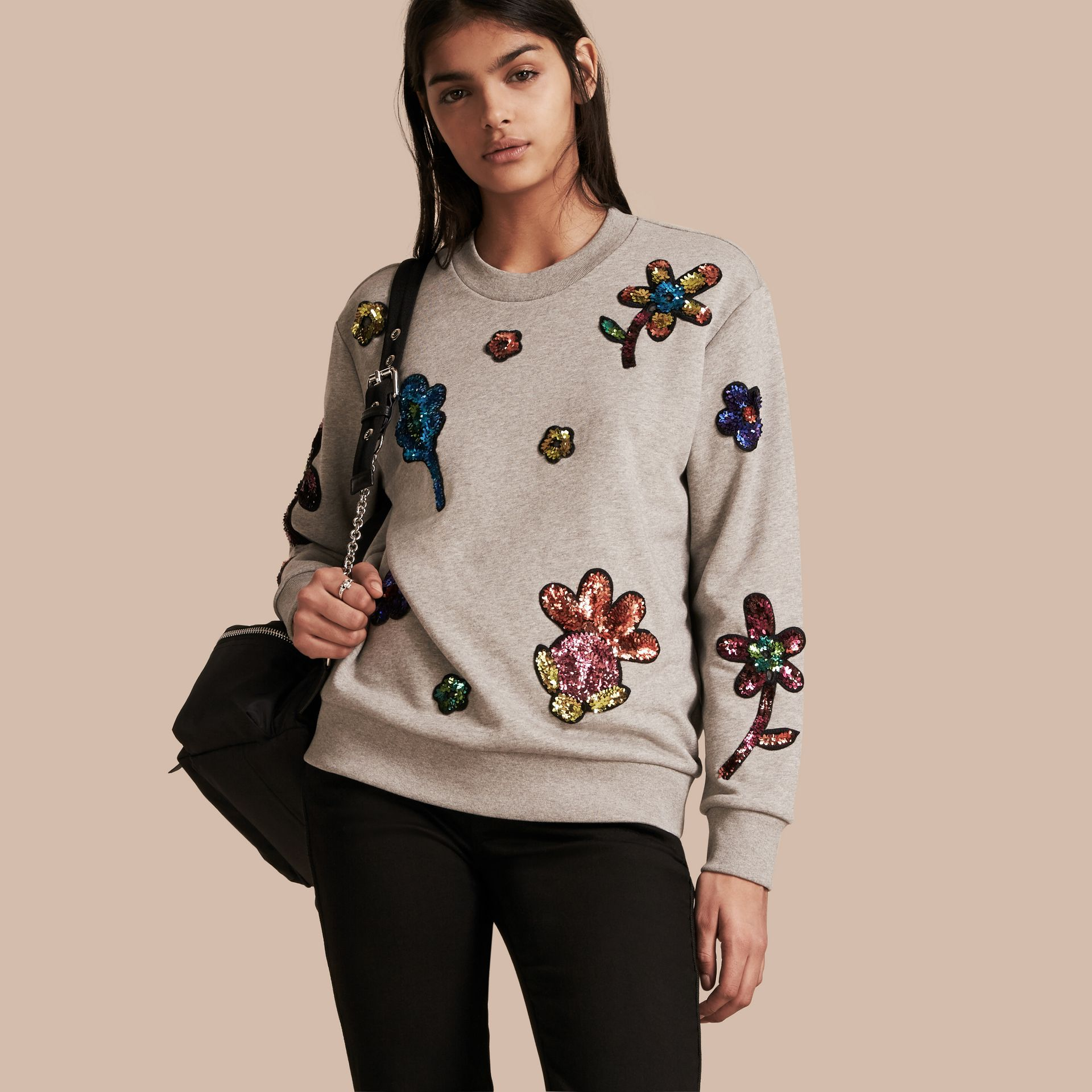 Pale grey melange Sequin Floral Appliqué Cotton Sweatshirt Pale Grey Melange - gallery image 1