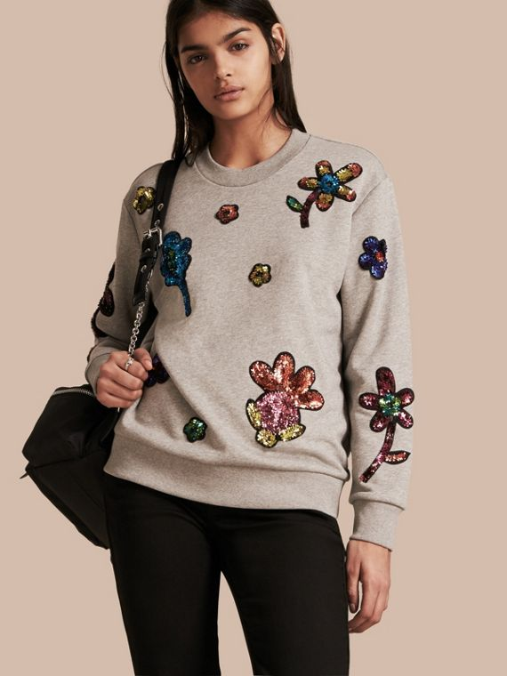Sequin Floral Appliqué Cotton Sweatshirt Pale Grey Melange