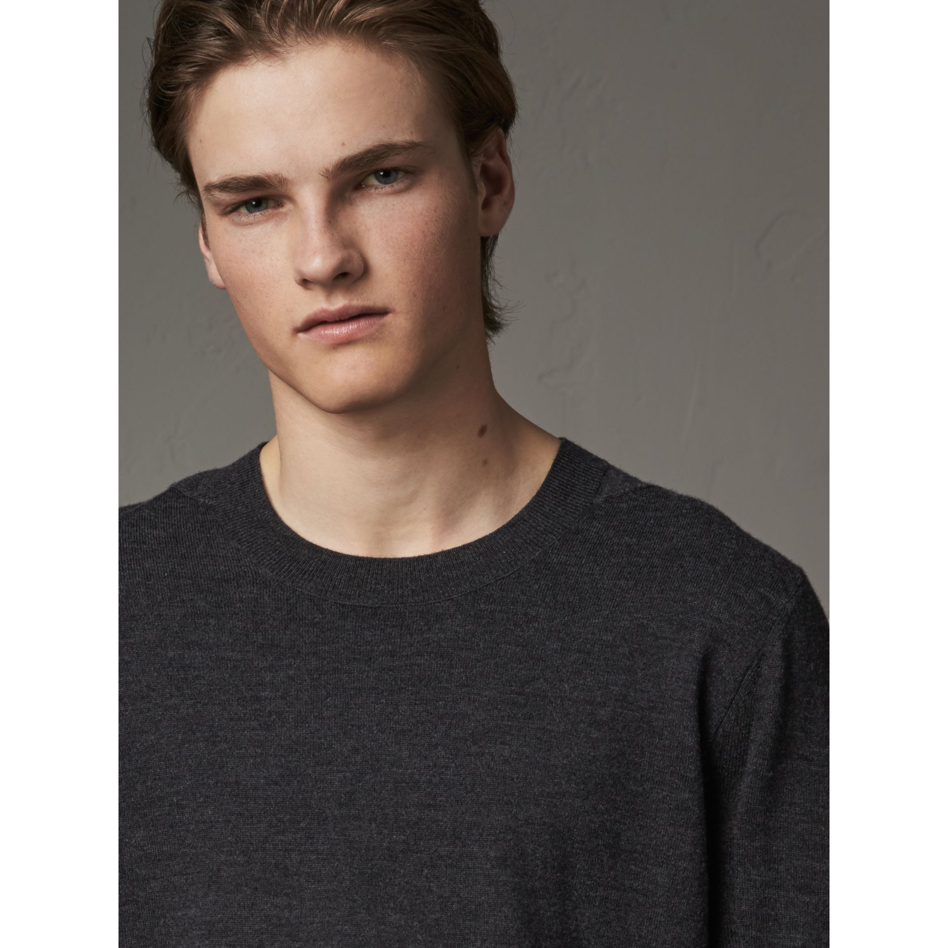 Check Detail Merino Wool Sweater in Charcoal - Men | Burberry United Kingdom - gallery image 1
