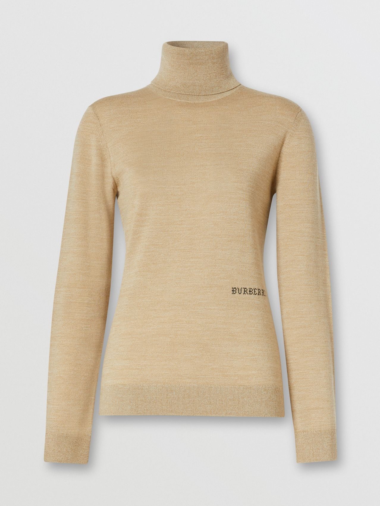 Two-tone Merino Wool Silk Roll-neck Sweater in Camel