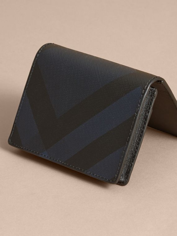 London Check and Leather Folding Card Case in Navy/black - Men | Burberry - cell image 2