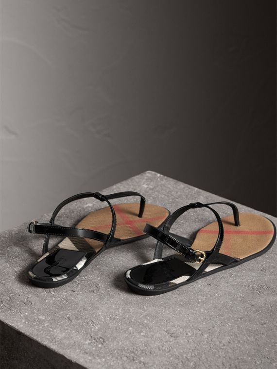 House Check-lined Leather Sandals in Black - Women | Burberry Australia - cell image 2