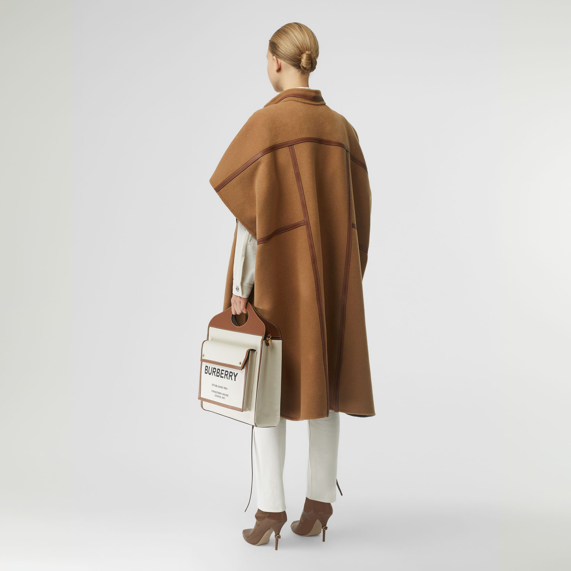 Leather Harness Detail Wool Blend Cape in Camel/honey - Women | Burberry United States - gallery image 2