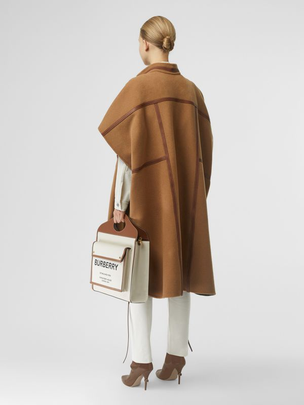 Leather Harness Detail Wool Blend Cape in Camel/honey - Women | Burberry Hong Kong S.A.R - cell image 2