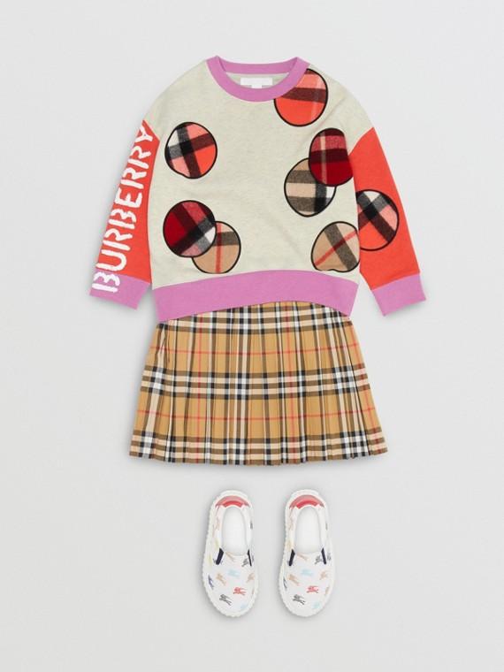 Suéter de algodão com motivo xadrez (Cinza Mesclado)