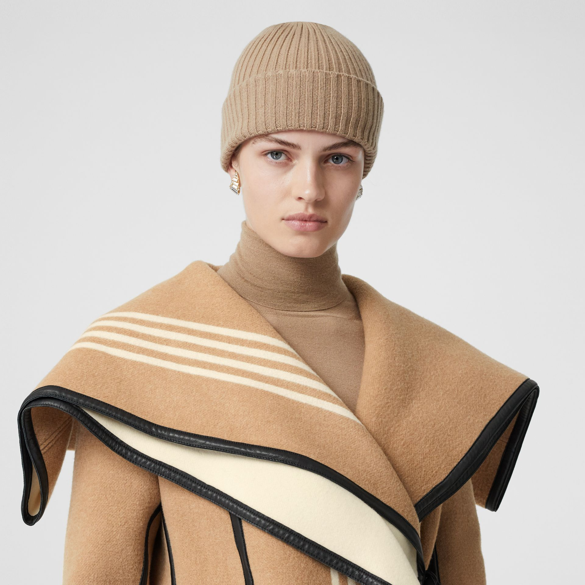 Lambskin Trim Striped Wool Wrap Coat in Camel - Women | Burberry - gallery image 1