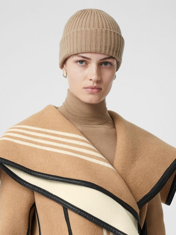 Lambskin Trim Striped Wool Wrap Coat in Camel - Women | Burberry - cell image 1
