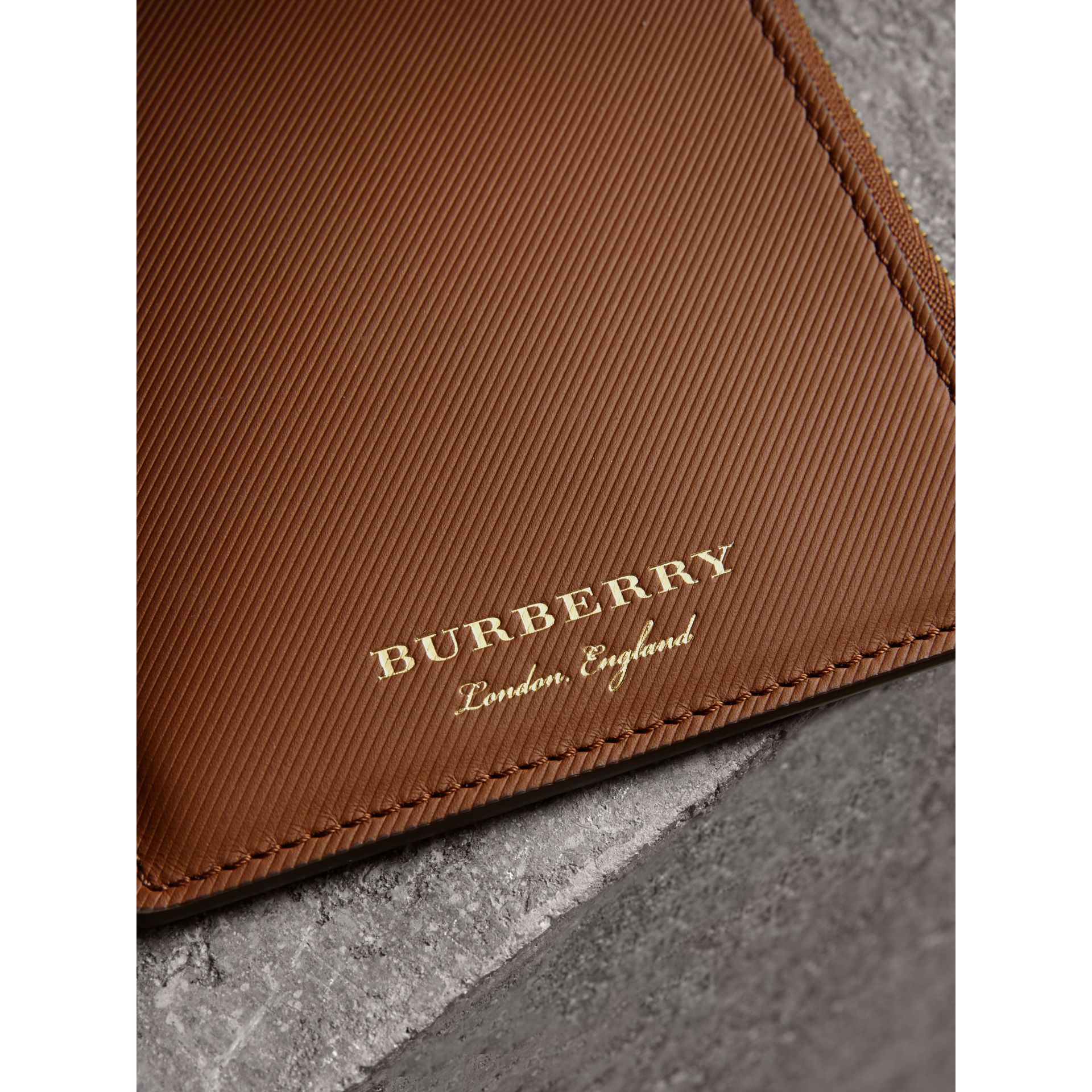 Trench Leather Ziparound Passport Holder in Tan | Burberry Canada - gallery image 1