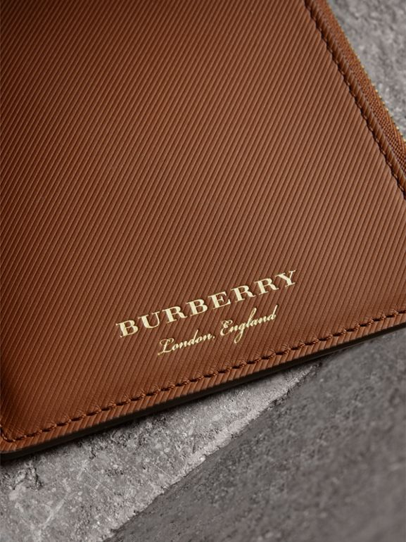 Trench Leather Ziparound Passport Holder in Tan | Burberry - cell image 1