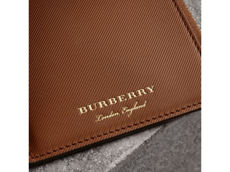 Trench Leather Ziparound Passport Holder in Tan | Burberry Canada - cell image 1