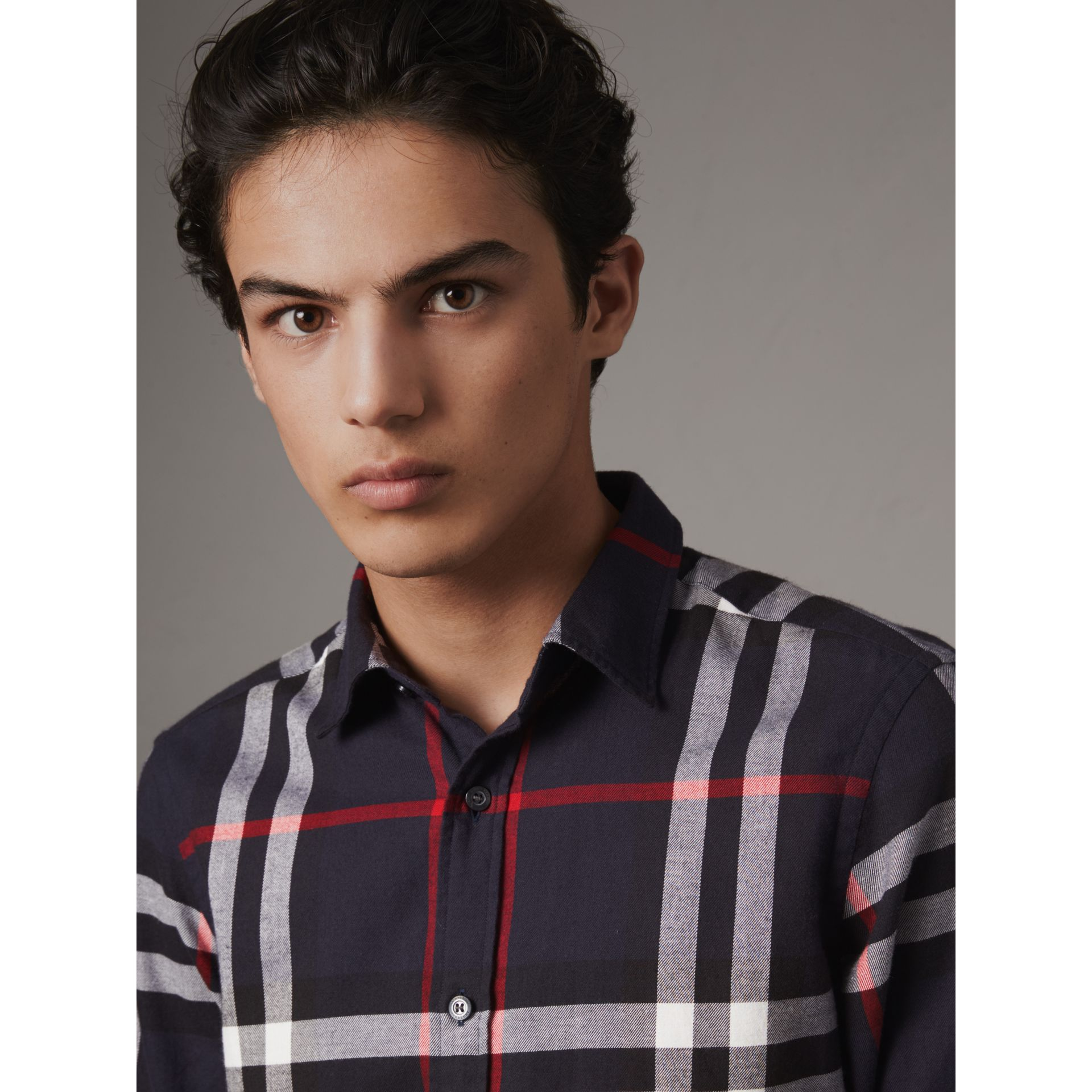 Check Cotton Flannel Shirt in Navy - Men | Burberry - gallery image 2