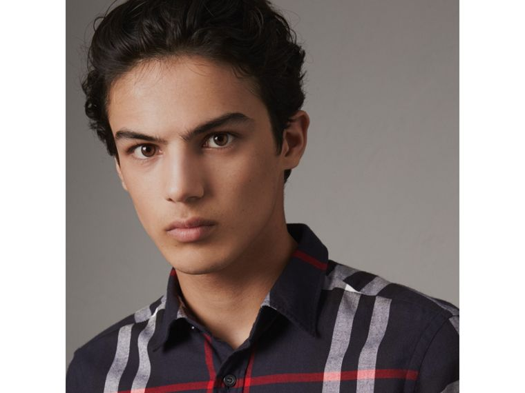 Check Cotton Flannel Shirt in Navy - Men | Burberry Singapore - cell image 1