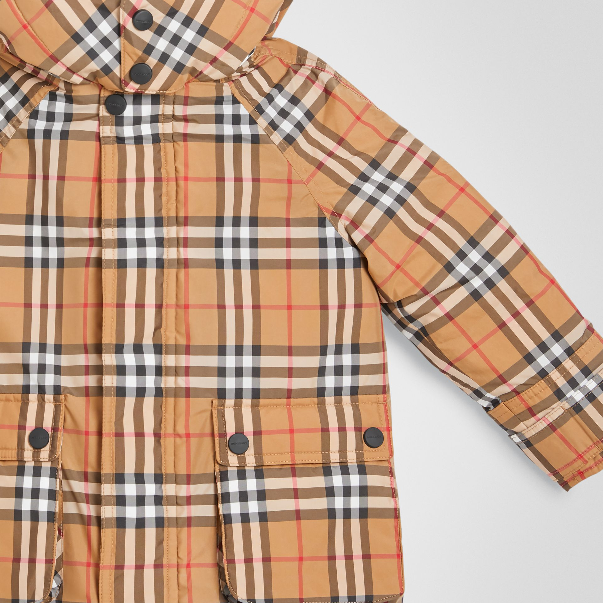 Vintage Check Down-filled Hooded Puffer Jacket in Antique Yellow | Burberry Australia - gallery image 4